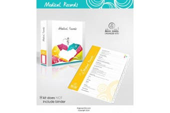 Medical Records Organiser Kit - Professionally Printed Tabs For USE in a Three Ring Binder