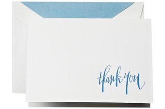 Crane & Co. Hand Engraved Newport Blue Thank You Notes (CT1313)