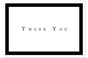 Formal Black Thank You Note Cards - 48 Cards & Envelopes