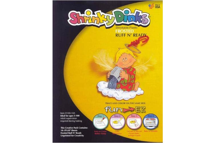 Shrinky Dinks Shrinkable Plastic - 20cm x 25cm - Set of 10 - Frosted