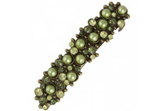 (Green) - Barrette Antique Gold and Pearl Look Hair Clips French Clip Slide Ideal for Weddings Parties Bridal Wear Green