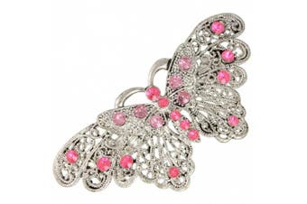 (Pink Diamante) - Barrette Butterfly Hair Clips French Clip Slide Ideal for Weddings Parties Bridal Wear Pink Diamante