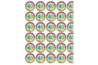 24 x 40th Birthday Edible Wafer Paper Cup Cake Toppers