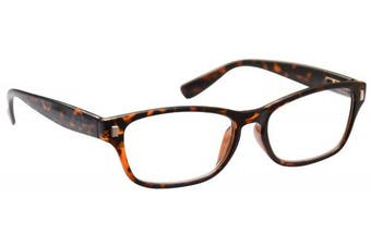 (Optical Power +2.00) - UV Reader Brown Tortoiseshell Reading Glasses Wayfarer Style Mens Womens UVR010 Strength +2.00