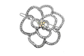 Acosta - Silver Tone & Clear Crystal - Rose Flower Hair Slide / Clip / Accessory - Gift Boxed