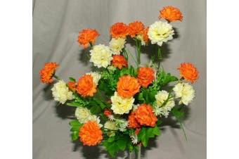 Gorgeous Artificial Silk Orange & Cream Mini Chrysanthemum / Mum bush with Leaves ca 35 flower heads - grave home spring flowers