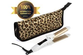 (White) - Travel Flat Iron 2-in-1 Mini Hair Straightener Curling Iron Dual Voltage 374 Degree Temperature Nano Titanium - Insulated Carry Bag Include