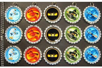 15 Special Assorted Ninjago SILVER Bottle Cap Pendant Necklaces Set 1