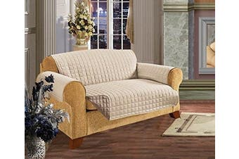 (Love Seat, Natural) - Elegant Comfort REVERSIBLE QUILTED Furniture Protector- Special Treatment Microfiber As soft as Egyptian Cotton, Natural Love Seat