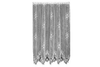 (150cm  Wide by 210cm  Drop Panel, White) - Heritage Lace Tea Rose 150cm Wide by 210cm Drop Panel, White