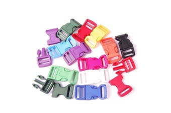 "10pcs 3/4"" (19mm) Webbing Mixed Colour Plastic Contoured Side Release Buckles for Paracord Bracelets Backpack Straps FLC041(Mix-s)"