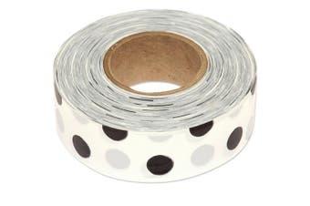 (90m Roll, Black Dots on White) - Flagging Tape, 3cm Wide (Black Dots on White, 90m Roll)