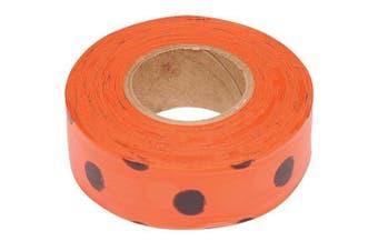 (90m Roll, Black Dots on Orange) - Flagging Tape, 3cm Wide (Black Dots on Orange, 90m Roll)