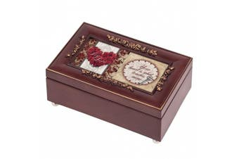 My Love Your Heart Rosewood Finish Gold Rose Jewellery Music Box - Plays Tune Canon in D