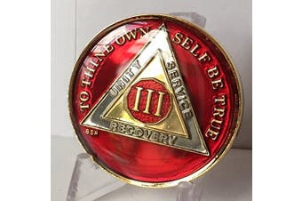 3 Year Mandarin Red Gold & Nickel Tri-Plate AA Alcoholics Anonymous Sobriety Medallion Chip Serenity Prayer