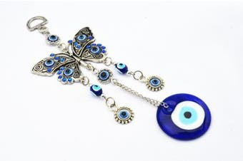Blue Evil Eye with Butterfly Hanging Decoration Ornament ( with a Betterdecor Pouch)-003