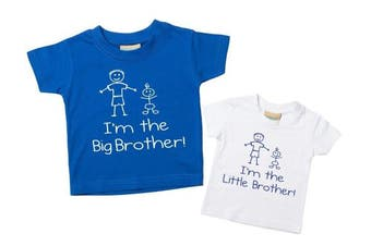 (Little 0-6 Months Big 3-4 Years) - I'm The Big Brother I'm The Little Brother Tshirt Set Blue White Tshirt Set Baby Toddler Kids Available in Sizes 0-6 Months New Baby Boys Brother Gift