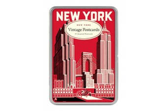 Cavallini New York Carte Postale, 18 Postcards per Tin