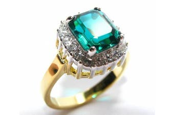 (U) - Absolutely Gorgeous 10.8mm World's Finest Simulated Flawless Diamonds Emerald Green Ring. Finished To a Superb Quality, Stunning And Equally Eye Catching! Heavily Gold Electroplated.