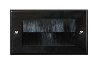 Black Double Gang Brush Strip Wallplate / Wall Plate / Faceplate Cable Tidy by electrosmart® for Wall Mounted Plasma TV etc