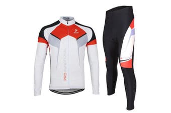 (White, Medium) - ARSUXEO Spring Autumn Men Cycling Clothing Set Sportswear Suit Bicycle Bike Outdoor Long Sleeve Jersey + Pants Breathable Quick-dry