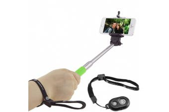 (Green with Remote) - CamKix Extendable Selfie Stick with Bluetooth Remote for Smartphones - With Universal Phone Holder up to 8.3cm in Width - Adjustable Handheld Monopod 28cm - 100cm - Light, Compact, Easy to Carry