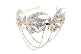 (Golden) - BABEYOND Roaring 20s Forehead Band 1920s Bridal Headpiece Vintage Forehead Chain for Wedding Bridesmaid Gatsby Costume Accessories with Gift Box