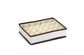 (10cm  by 15cm ) - FURINNO 12284IV Non-Woven Fabric Soft Storage Organiser, 10cm by 15cm , Ivory with Mid Brown Trim