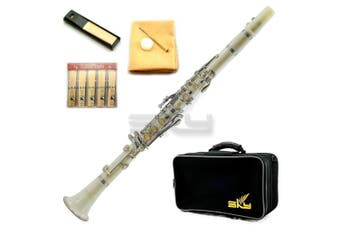 (white) - SKY White ABS Bb Clarinet with Case, Mouthpiece, 11 Reeds, Care kit and more