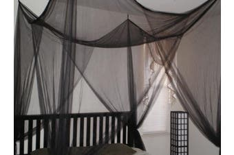 (Black) - Octorose ® 4 Poster Bed Canopy Netting Functional Mosquito Net Full Queen King (Black)