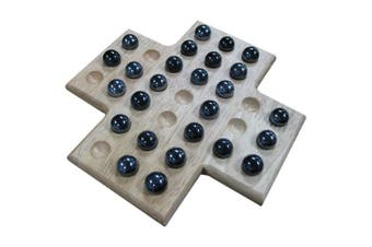 Sean Wood Cross Solitaire Board Game with Black Marble Pieces - 20cm Set