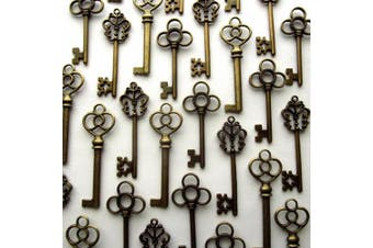 (Bronze) - Aokbean Mixed Set of 30 Large Skeleton Keys in Antique Bronze - Set of 30 Keys