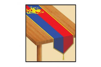 (1) - Beistle Printed Mediaeval Table Runner, 3.4m by 1.8m, Red/Blue/Yellow