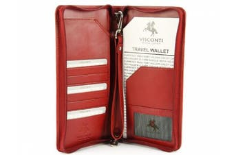 (Red) - Visconti Large Leather Travel Wallet For Passports, Tickets, Credit Cards - 1157