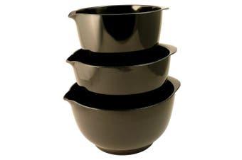 (Black) - Hutzler Melamine Mixing Bowl Set: 2, 3 and 4 Litres, Black