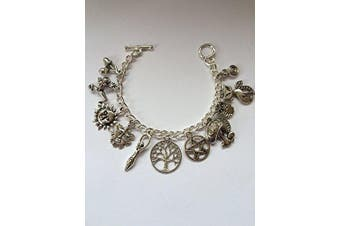 Wiccan Pagan Charm Bracelet - SIX Charms Of Your Choice - Size Medium 17cm