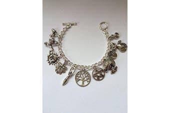 Wiccan Pagan 11 Charm Bracelet - Full Set - Size Large 20cm