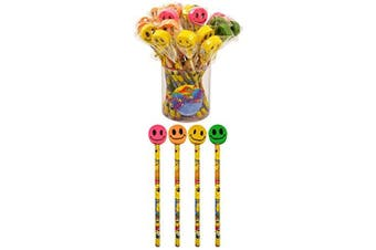 12 X Smile Face Pencils With Eraser On Top