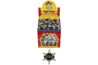 12 X Cowboy Sheriff Badge Party Bag Fillers - Silver Coloured