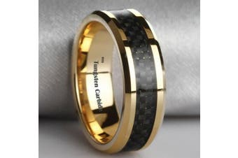 (Z) - LUXURY Black Carbon Inlay Gold Plated Tungsten Carbide Wedding Engagement Band Ring