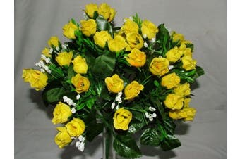 Luscious Artificial Silk Yellow Rose bush - 60 Heads with Gyp - Wedding Grave Home Decoration