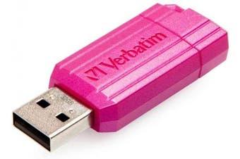 (Hot Pink, 32GB) - Verbatim 32GB 49056 PinStripe USB 2.0 Flash Drive - Hot Pink