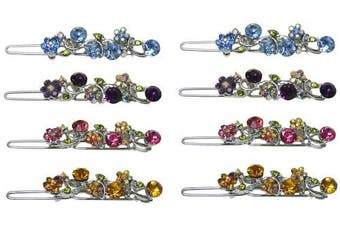 Set of 8 Barrettes with Sparkling Stones, 2 each of 4 colours, NM86350-15-8