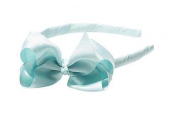 "(Seafoam) - Anna Belen Girls ""Lila"" Grosgrain Bow Headband O/S Seafoam"