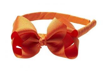 "(Orange) - Anna Belen Girls ""Lila"" Grosgrain Bow Headband O/S Orange"