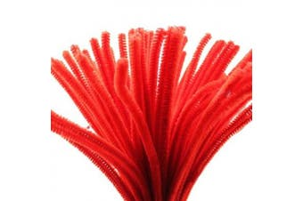 (Red) - Caryko Super Fuzzy Chenille Stems Pipe Cleaners, Pack of 100 (Red)