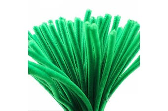 (Green) - Caryko Super Fuzzy Chenille Stems Pipe Cleaners, Pack of 100 (Green)