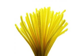 (Yellow) - Caryko Super Fuzzy Chenille Stems Pipe Cleaners, Pack of 100 (Yellow)