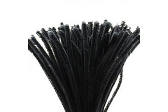(Black) - Caryko Super Fuzzy Chenille Stems Pipe Cleaners, Pack of 100 (Black)