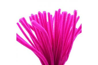 (Hot Pink) - Caryko Super Fuzzy Chenille Stems Pipe Cleaners, Pack of 100 (Hot Pink)